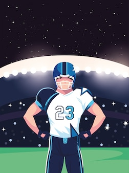 Joueur de super bowl avec casque devant l'illustration de la tribune