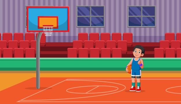 Joueur tenant le ballon de basket