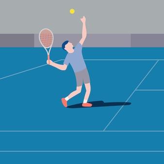 Joueur de tennis design plat au service