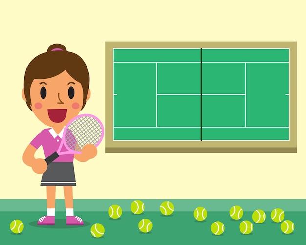 Joueur de tennis féminin de dessin animé et illustration de la cour