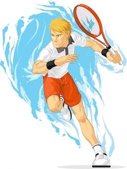 Joueur tennis, tenue, raquette
