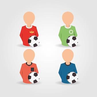 Joueurs d'avatar et arbitres avec des ballons de football