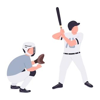 Joueurs de baseball personnages plats