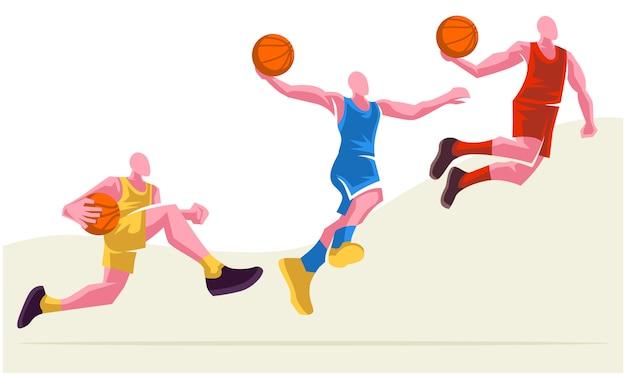 Joueurs de basket-ball dans différentes poses ensemble de 3. illustration évolutive et modifiable