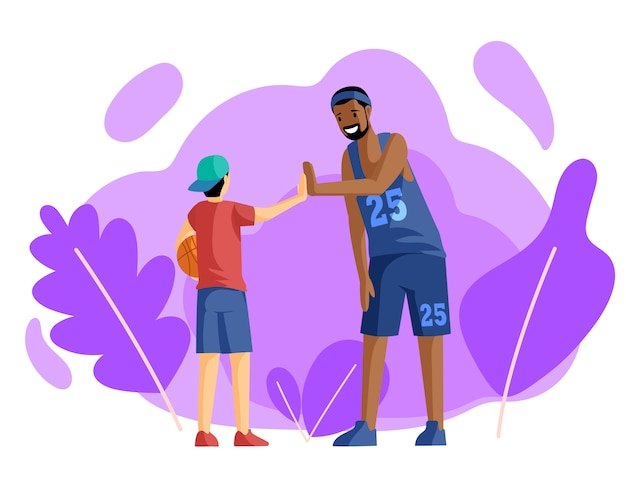 Joueurs de basket-ball heureux donnant une illustration plate haute cinq. entraînement sportif, activité. esprit d'équipe, entraîneur en uniforme et petit basketteur avec des personnages de dessins animés de balle