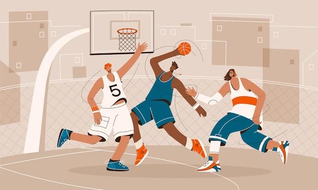 Joueurs de basket-ball jouant sur le terrain de jeu