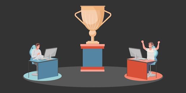 Les joueurs de cybersport s'affrontent avec deux joueurs jouant à des jeux électroniques en ligne en compétition pour le prix d'or. illustration vectorielle