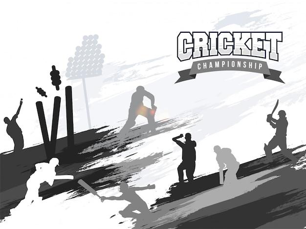 Les joueurs dans différentes actions de jeu, le concept de ligue de championnat de cricket.