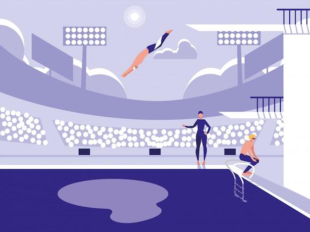 Joueurs dans la piscine pour la compétition de plongée