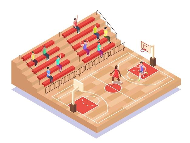 Joueurs et fans de terrain de basket-ball isométrique illustration vectorielle plate aire de jeux de terrain de sport de basket-ball