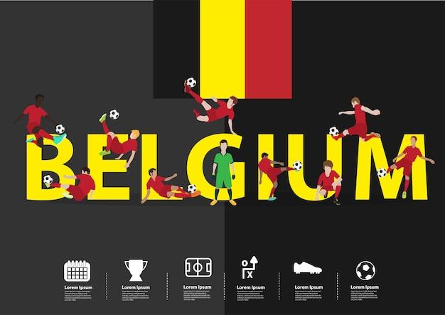 Joueurs de football en action sur le texte de la belgique
