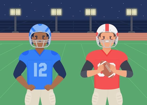 Joueurs de football américain devant un design plat sur le terrain