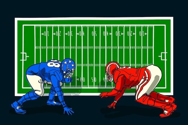 Joueurs de football américain devant le terrain