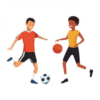 Joueurs de football et de basket