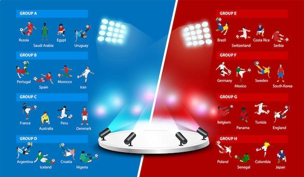 Joueurs de football avec calendrier de match
