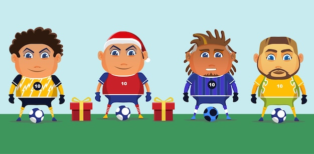Les joueurs de football en chemises bleues et rouges célèbrent noël avec un cadeau