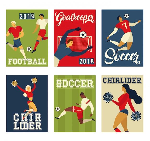 Joueurs de football de football et pom-pom girls mis affiche