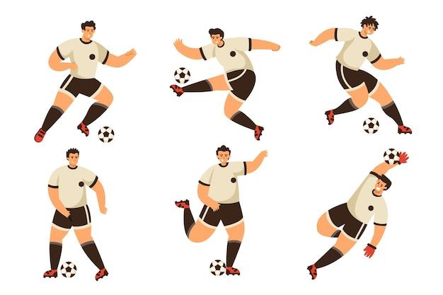 Joueurs de football à plat
