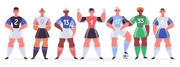 Les joueurs de football se tiennent dans l'illustration de la rangée