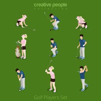 Joueurs de golf jeu d'icônes concept infographie web féminin masculin. collection de personnes créatives.