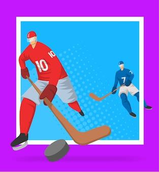 Joueurs de hockey dans un style abstrait. illutration, modèle d'affiche de sport.