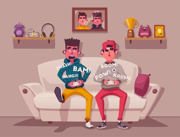 Joueurs jouant à des jeux vidéo illustration