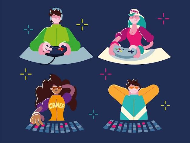 Joueurs masculins féminins avec clavier