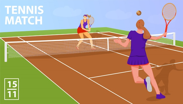 Joueuses de tennis femme. match de tennis