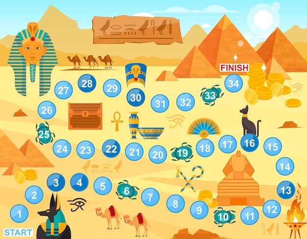 Jouez au jeu de société egypte. fond de jeu amusant pour l'équipe de joueurs familiaux, les enfants et les parents joueurs