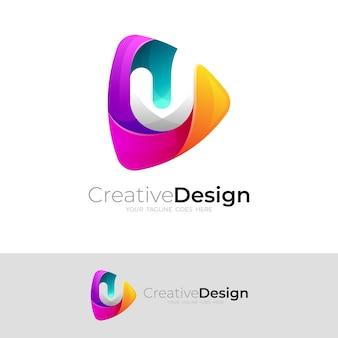 Jouez le modèle de conception de logo et de lettre u, icône colorée moderne