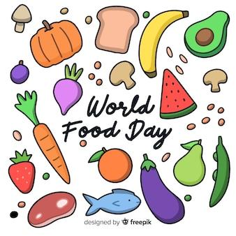 Jour de l'alimentation mondiale dessiné à la main