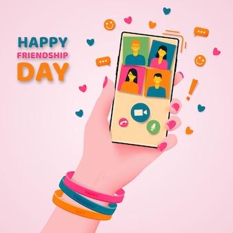 Jour de l'amitié. communication et félicitations par téléphone.