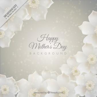 Jour l'arrière-plan mère avec des fleurs blanches