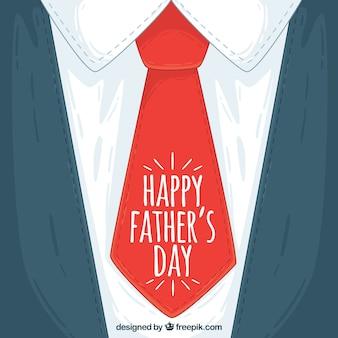 Jour l'arrière-plan père avec cravate rouge