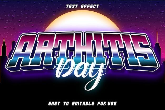 Jour de l'arthrite avec effet de texte modifiable en relief dans le style rétro