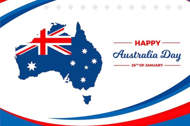 Jour de l'australie avec carte australienne plate