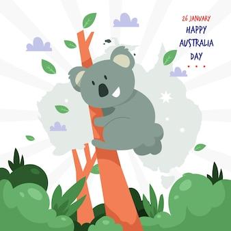 Jour de l'australie avec un design plat de carte australienne