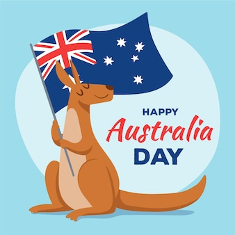 Jour de l'australie dessiné à la main avec kangourou et drapeau