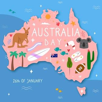 Jour de l'australie dessiné à la main
