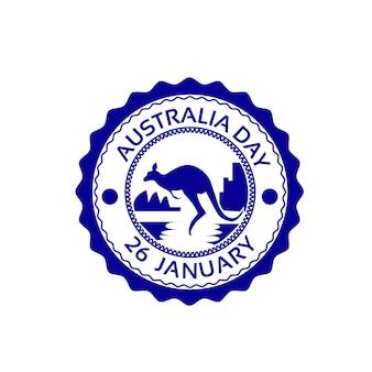 Jour de l'australie kangaroo stamp drapeau national holiday flat