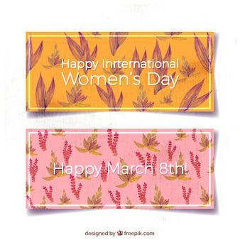 Jour les bannières de la femme avec des fleurs à l'aquarelle