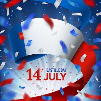 Jour de la bastille avec des confettis et le drapeau national de la france