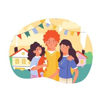 Jour de câlin de concept et relation familiale heureuse une illustration vectorielle