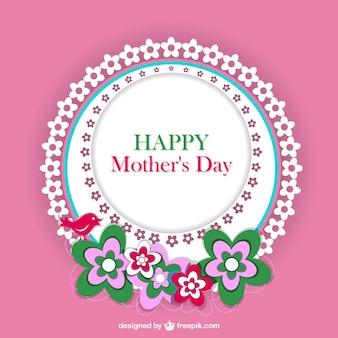 Jour carte de dentelle florale de la mère