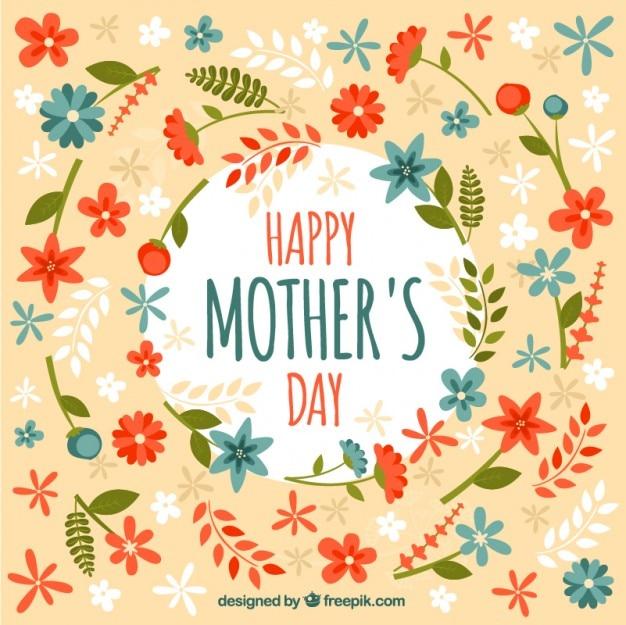 Jour de la carte de la mère avec des fleurs dessinées à la main