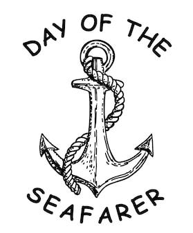 Jour de la carte de voeux de croquis dessinés à la main d'ancre de concept de juin de marin