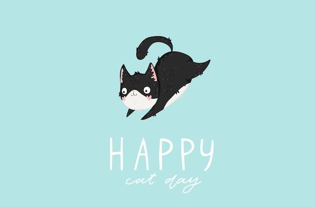 Jour de chat heureux fond dessiné à la main avec des chats et des lettres