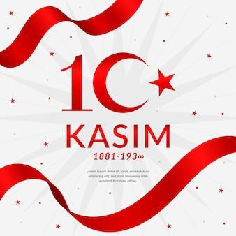 Jour commémoratif d'ataturk design plat