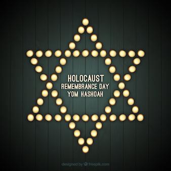 Jour de commémoration de l'holocauste, l'étoile avec des lumières
