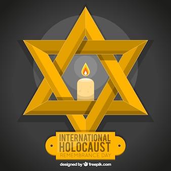 Jour de commémoration de l'holocauste, étoile d'or avec une bougie